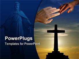 PowerPoint template displaying two hands touching with an image of Jesus and a large cross