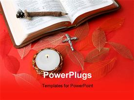 PowerPoint template displaying a reddish background with a cross and a holy bible