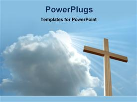 Light falls from sky on a wooden cross powerpoint theme
