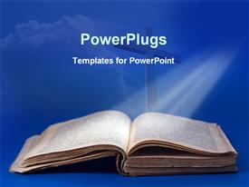 PowerPoint template displaying light rays falling on bible in the background.