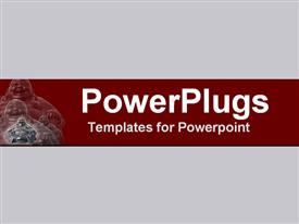 PowerPoint template displaying magnificent laughing Buddha in burgundy & bronze in the background.