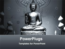 PowerPoint template displaying a statue of Buddha with grayish background
