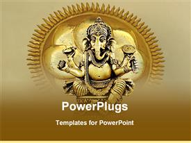PowerPoint template displaying golden statue of Ganesh on depiction of sun with rays on tan background