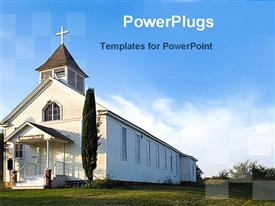 PowerPoint template displaying old white country church with green field