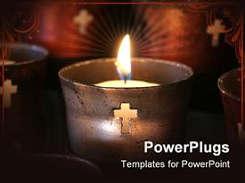 PowerPoint template displaying old-fashioned prayer candles alit at a mission in the background.