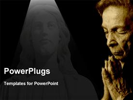 PowerPoint template displaying old woman saying prayers with stone sculpture of Jesus in background