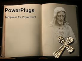PowerPoint template displaying open book with Jesus Christ and cross in the background.