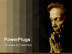 PowerPoint template displaying old woman saying her prayers with bars of gradient brown color