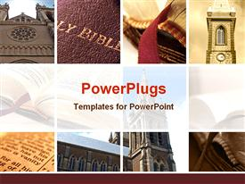 PowerPoint template displaying collage of nine depictions related to religion, religious theme with Bible cover, open Bible, church
