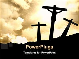 PowerPoint template displaying silhouette of Jesus Christ in the background.