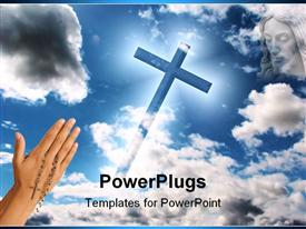 PowerPoint template displaying a hand pointing towards the holy cross