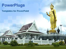 PowerPoint template displaying a big gold colored statue of Buddha on a house
