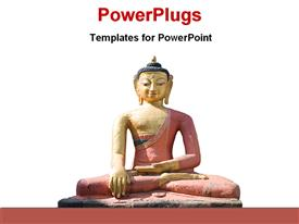 PowerPoint template displaying statue of a Dhynai Buddha