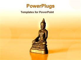 PowerPoint template displaying statue of gold Buddha