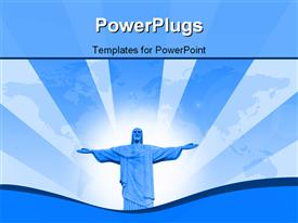 PowerPoint template displaying statue of Jesus in the background.