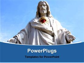 PowerPoint template displaying statue of Jesus over blue sky