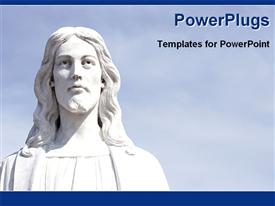 PowerPoint template displaying a white Jesus with sky in the background