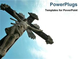 PowerPoint template displaying religious depiction with statue of Jesus Christ crucifixion over blue sky
