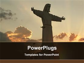 PowerPoint template displaying sun set view of a big statue of Jesus Christ