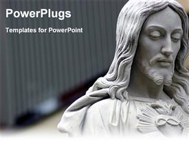 PowerPoint template displaying jesus statue with shining red heart