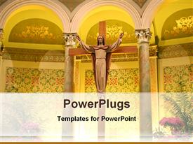 PowerPoint template displaying statue of Jesus inside a cathedral in the background.