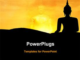 PowerPoint template displaying statue of a lord Buddha