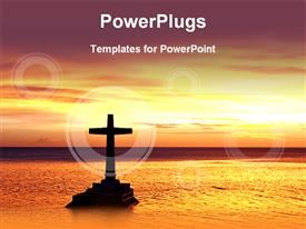 PowerPoint template displaying tropical sunset with cross in the background.