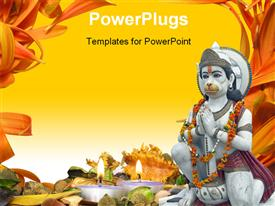 PowerPoint template displaying urgiana Hindu Temple. Marble statue of the Monkey God Hanuman garlanded in orange flowers in the background.