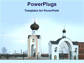 PowerPoint template displaying view of a Christian church complex