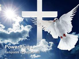 White dove flying on clear blue sky powerpoint theme