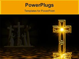 PowerPoint template displaying glowing Christian cross with crucifixion statues in background, water reflection, Christianity, church, faith