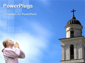 PowerPoint template displaying little girl praying in the front of a big cathedral