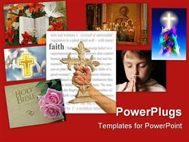 PowerPoint template displaying woman holding a cross with faith theme in the background.
