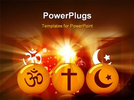 Three rounds with religious symbols template for powerpoint