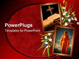 PowerPoint template displaying two picture frames of Jesus and a bible and a cross