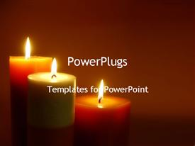 PowerPoint template displaying romantic lit candles mediation zen calm relaxation mental health emotions brown background