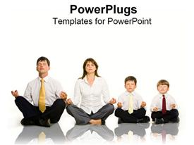 PowerPoint template displaying family of four corporately dressed all doing yoga exercise