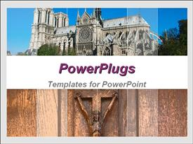 PowerPoint template displaying big old cathedral with a brown Jesus cross underneath