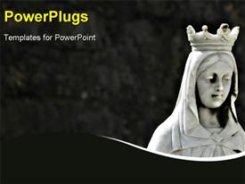 Religious Statue - Statue of the Virgin Mary with dark brick background presentation background
