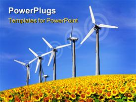 PowerPoint template displaying windmill renewable energy source in the background.