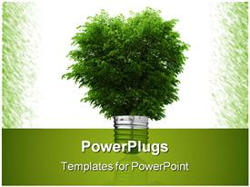 PowerPoint template displaying light bulb and green tree growing from it in the background.