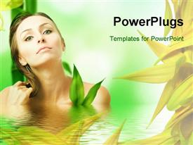PowerPoint template displaying a beautiful girl in water with palnts in background