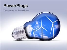 PowerPoint template displaying eco lamp with blue sky and turbines in the background.