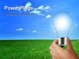 PowerPoint template displaying eco light bulb solar renewable energy concept in the background.