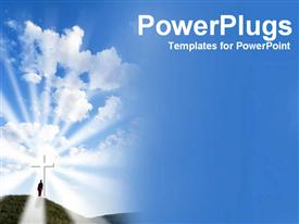 PowerPoint template displaying person reaching to sky in the background.