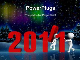 Replacing numbers to form new year 2011 - a 3D image powerpoint design layout