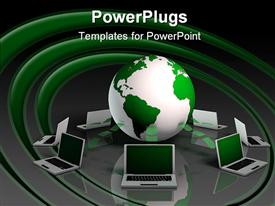 PowerPoint template displaying 3D white and green globe, planet earth, laptops connected to globe, network and communication, internet connection