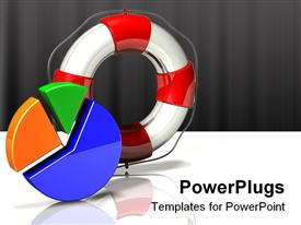 PowerPoint template displaying multicolor three segment pie chart standing upright in the background.