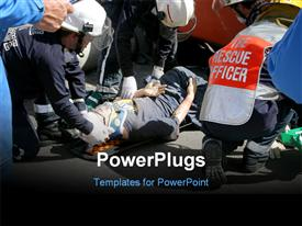 PowerPoint template displaying a number of emergency workers helping the people