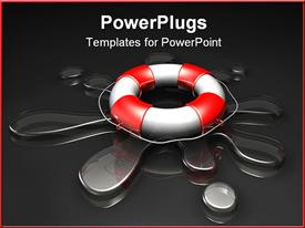 Large red and white lifesaver sitting on top of a clear puddle of water powerpoint template